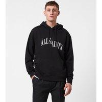 AllSaints Men's Cotton Logo Print Relaxed Fit Dropout Pullover Hoodie, Black, Size: XXL