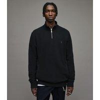AllSaints Men's Cotton Slim Fit Raven Half Zip Funnel Sweatshirt, Black, Size: S