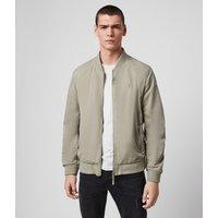 AllSaints Men's Cotton Regular Fit Bassett Bomber Jacket, Grey, Size: M