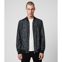 AllSaints Men's Relaxed Fit Morton Bomber Jacket, Black and Grey, Size: M