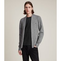 AllSaints Men's Merino Wool Lightweight Mode Cardigan, Grey, Size: M