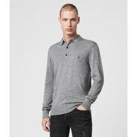 AllSaints Men's Lightweight Merino Wool Slim Fit Mode Long Sleeve Polo Shirt, Grey, Size: M