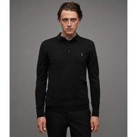 AllSaints Men's Merino Wool Lightweight Mode Long Sleeve Polo Shirt, Black, Size: S