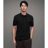 AllSaints Men's Merino Wool Slim Fit Mode Short Sleeve Polo Shirt, Black, Size: XS