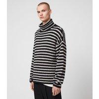 AllSaints Men's Cotton Stripe Alderney Funnel Neck Jumper, Black and White, Size: M