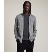 AllSaints Men's Merino Wool Lightweight Mode Zip Hoodie, Grey, Size: XS