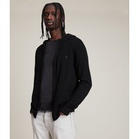 AllSaints Men's Merino Wool Lightweight Mode Zip Hoodie, Black, Size: XXL