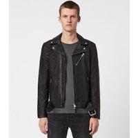 AllSaints Men's Sheep Leather Slim Fit Rigg Biker Jacket, Black, Size: XL
