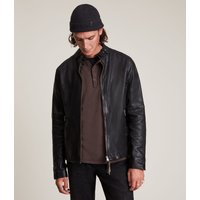 AllSaints Men's Sheep Leather Cotton Traditional Cora Jacket, Black, Size: XL