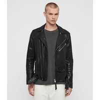 AllSaints Men's Leather Roundhouse Biker Jacket, Black, Size: M