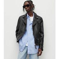 AllSaints Men's Leather Slim Fit Milo Biker Jacket, Black, Size: XXL