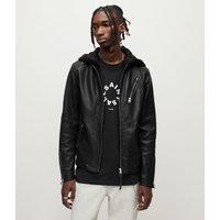 AllSaints Men's Sheep Leather Slim Fit Harwood Biker Jacket, Black, Size: S