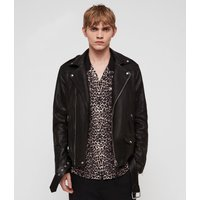 AllSaints Men's Sheep Leather Slim Fit Manor Biker Jacket, Black, Size: XL