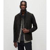 AllSaints Men's Wool Slim Fit Survey Leather Blazer, Black, Size: M