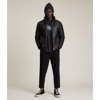 AllSaints Men's Lamb Leather Slim Fit Coronet Puffer Jacket, Black, Size: M