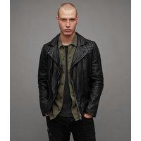 AllSaints Men's Leather Traditional Conroy Biker Jacket, Blue, Size: XS