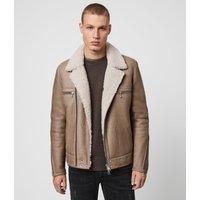 AllSaints Men's Dyed Sheepskin Traditional Coleman Shearling Biker Jacket, Brown, Size: S