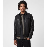 AllSaints Men's Goat Leather Regular Fit Classic Lark Jacket, Black, Size: L