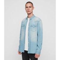 AllSaints Men's Cotton Slim Fit Cardock Denim Shirt, Blue, Size: M