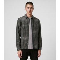 AllSaints Men's Cotton Regular Fit Garforth Shirt, Black, Size: XXL