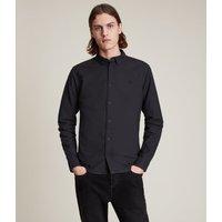 AllSaints Men's Cotton Slim Fit Huntingdon Long Sleeve Shirt, Black, Size: M