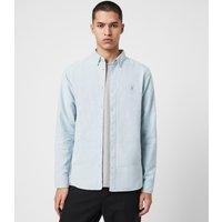 AllSaints Men's Cotton Slim Fit Huntingdon Long Sleeve Shirt, Blue, Size: S