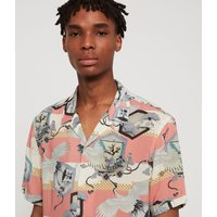 AllSaints Men's Lightweight Shield Shirt, Pink and White, Size: M