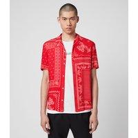 AllSaints Men's Cotton Bandana Print Lightweight Cherito Short Sleeve Shirt, Red, Size: XS