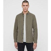 AllSaints Men's Cotton Lightweight Nordheim Shirt, Green, Size: XXL