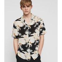 AllSaints Men's Slim Fit Talon Shirt, Black and White, Size: M