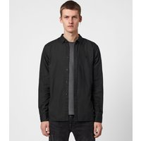 AllSaints Men's Cotton Slim Fit Redondo Long Sleeve Shirt, Black, Size: XS