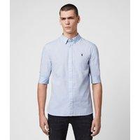 AllSaints Men's Cotton Slim Fit Redondo Half-Sleeve Shirt, Blue, Size: M