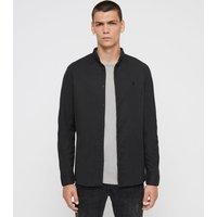 AllSaints Men's Cotton Slim Fit Augusta Shirt, Black, Size: M