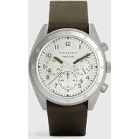 AllSaints Subtitled III Stainless Steel and Military Green Watch