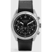 AllSaints Men's Leather Subtitled IV Stainless Steel and Watch, Black
