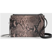 AllSaints Women's Snake Print Fetch Chain Leather Crossbody Bag, Pink