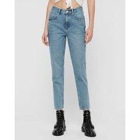 AllSaints Brooke High-Rise Straight Jeans, Indigo Blue