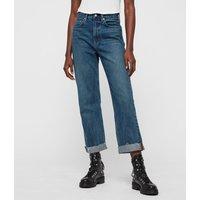 AllSaints Women's Cotton Mari High-Rise Cropped Boyfriend Jeans, Blue, Size: 29