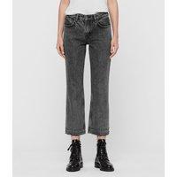 AllSaints Ava Studded Hem Straight High-Rise Jeans, Washed Black