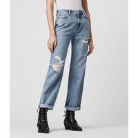 AllSaints Ash Cropped High-Rise Distressed Boyfriend Jeans, Mid Indigo