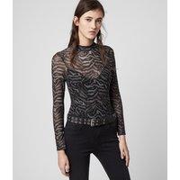 AllSaints Women's Zebra Print Remix Elia Bodysuit, Grey and Black, Size: XS