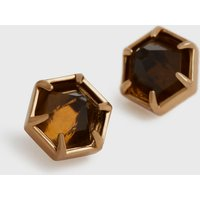 AllSaints Kailey Gold-Tone Smokey Quartz Stud Earrings