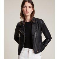 AllSaints Women's Leather Lightweight Vela Biker Jacket, Black, Size: 2