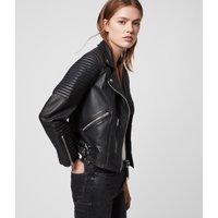 AllSaints Women's Leather Quilted Regular Fit Estella Biker Jacket, Black, Size: 4