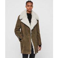 AllSaints Women's Dyed Sheepskin Relaxed Fit Zeta Shearling Coat, Brown, Size: S