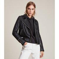 AllSaints Women's Leather Traditional Conroy Biker Jacket, Black, Size: 12