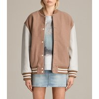 AllSaints Women's Cotton Stripe Classic Base Bomber Jacket, Brown and Grey, Size: M