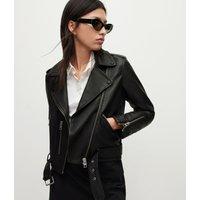 AllSaints Women's Leather Regular Fit Slim Balfern Biker Jacket, Black, Size: 12