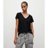 AllSaints Women's Cotton Regular Fit Emelyn Tonic T-Shirt, Black, Size: L