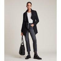 AllSaints Women's Cotton Relaxed Fit Dahlia Sweatshirt, Black, Size: S